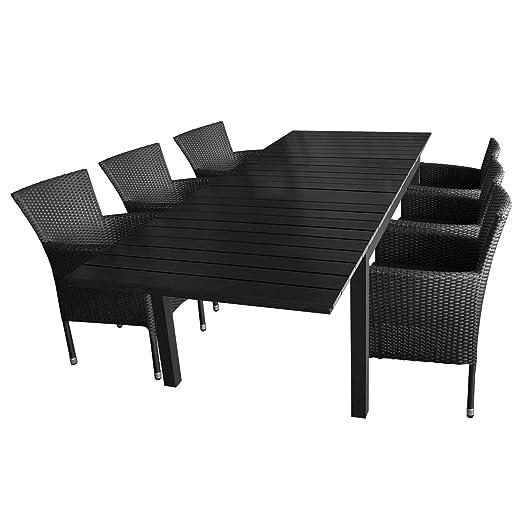 7 piezas. Mobiliario de jardín aluminio mesa extensible 160/210 ...