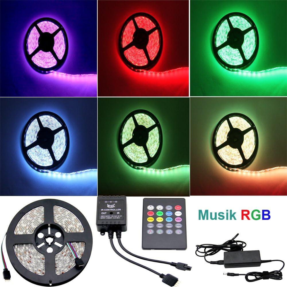 Besdata RGB 5050 Tira de luz impermeable de 5m 300 LEDs (siete colores) + Control remoto de música de 20 teclas + Fuente de alimentación 12V/6A/72W