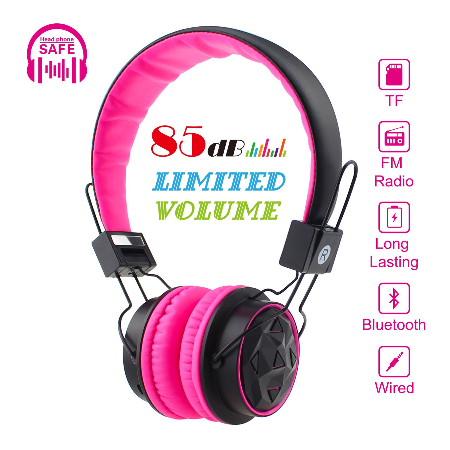 Red Kids Headphones Bluetooth Foldable Wireless//Wired Stereo HD On-Ear Headset with 3.5mm Jack SD Card FM Radio Microphone Volume Control Over Ear Children Headphones for Girls Boys School iPhone