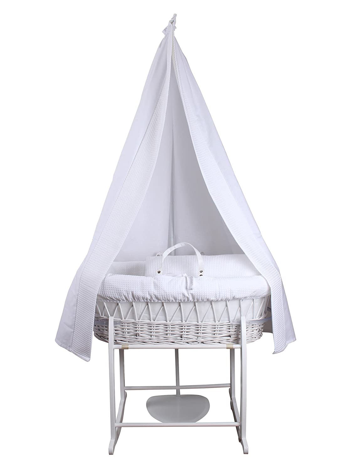 6-Piece Waffle Moses Basket Starter Set (White) Clair de Lune CL5069WE