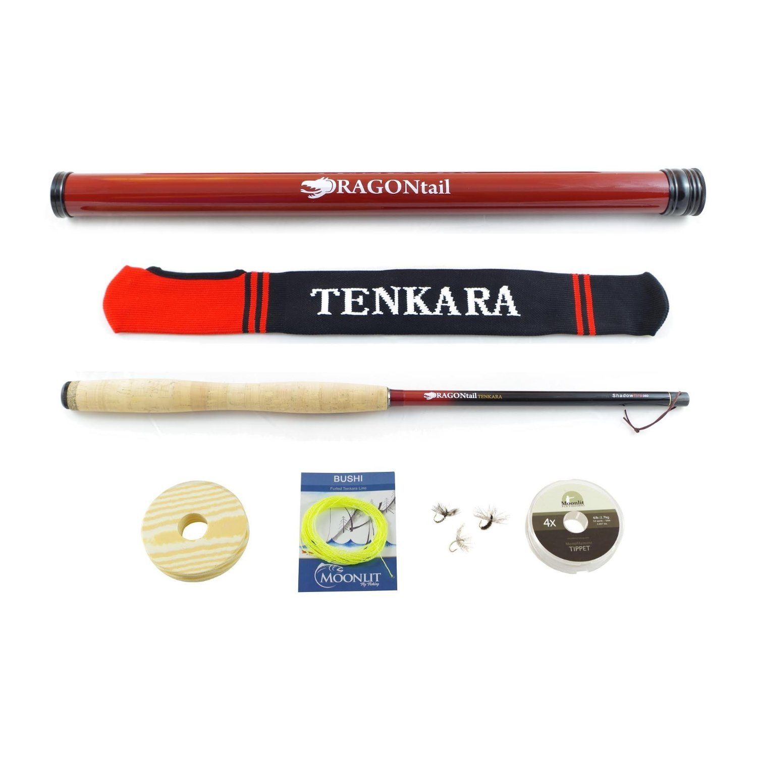 DRAGONtail Tenkara Shadowfire 12' Tenkara Rod PLUS Complete Starter Package – Flies, Leader, Tippet, Line Holder, Storage Tube, and Rod Sock by DRAGONtail Tenkara