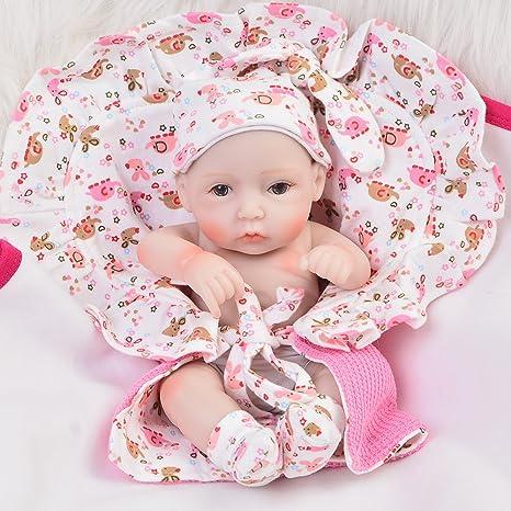 KEIUMI Mini 11 Inch Reborn Baby Girl Dolls Full Silicone Vinyl Realistic Babies Newborn Lifelike Toy