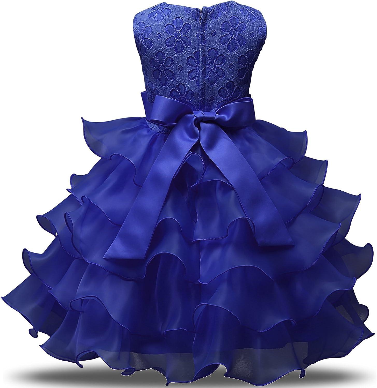 NNJXD Vestito da Ragazza Festa in Pizzo per Bambini Abiti da Sposa