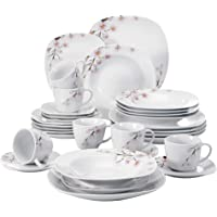 VEWEET Dinner Plate, Soup Plate, Salad Plate, Bowl Set (Annie Series), 30-Piece Ceramic Dinnerware Set, Ceramic, 30-Piece Annie, Annie