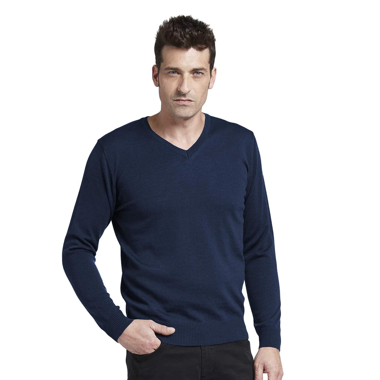 BRUNELLA GORI Maglione Pullover Scollo V Uomo in Extrafine Merino Color Blu Navy