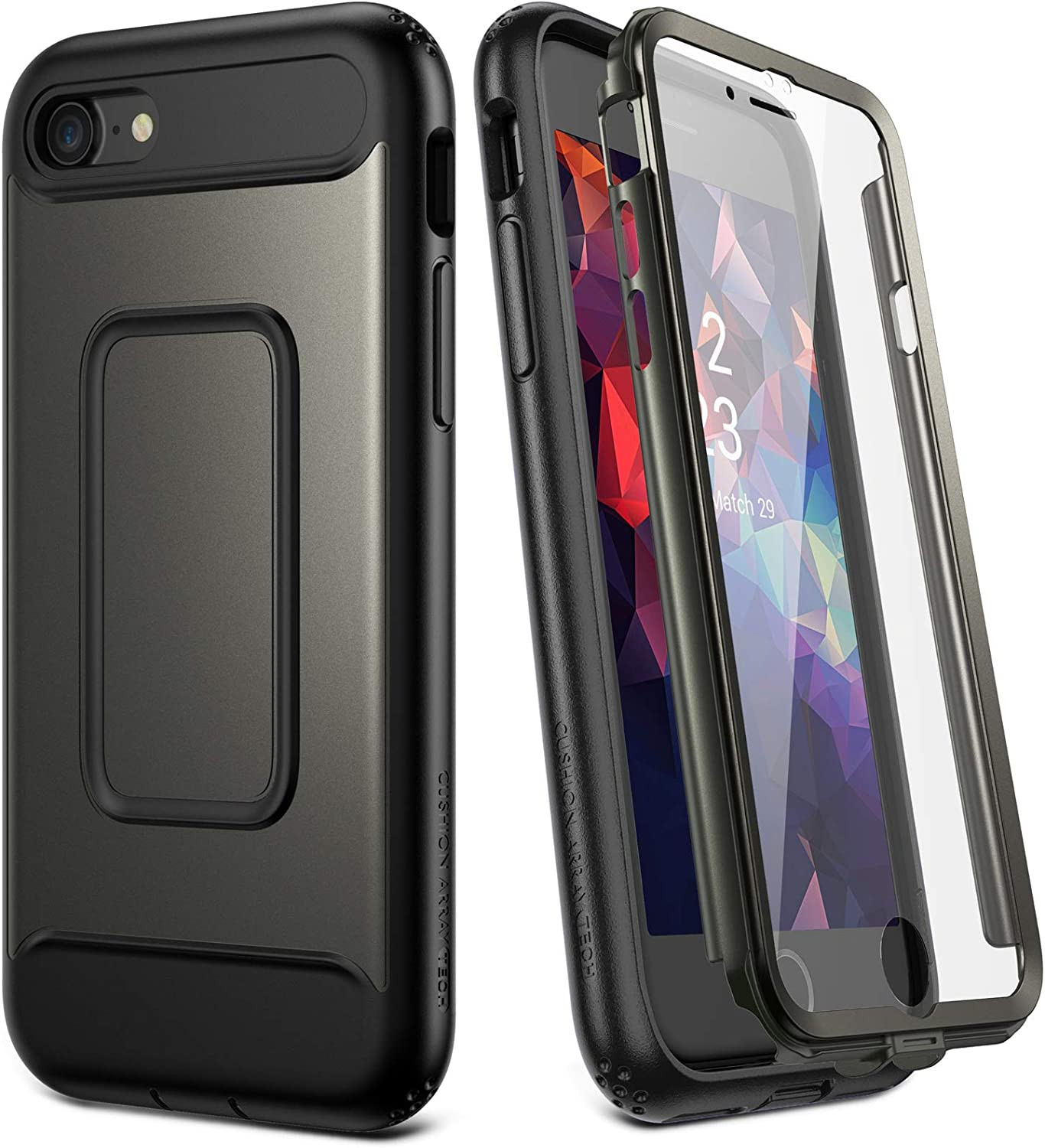 YOUMAKER Designed for iPhone SE 2020 Case/iPhone 8 Case/iPhone 7 Case (NOT PLUS),Full-body Rugged Case with Built-in Screen Protector for iPhone SE 2nd Generation/8/7 4.7 Inch - Gunmetal