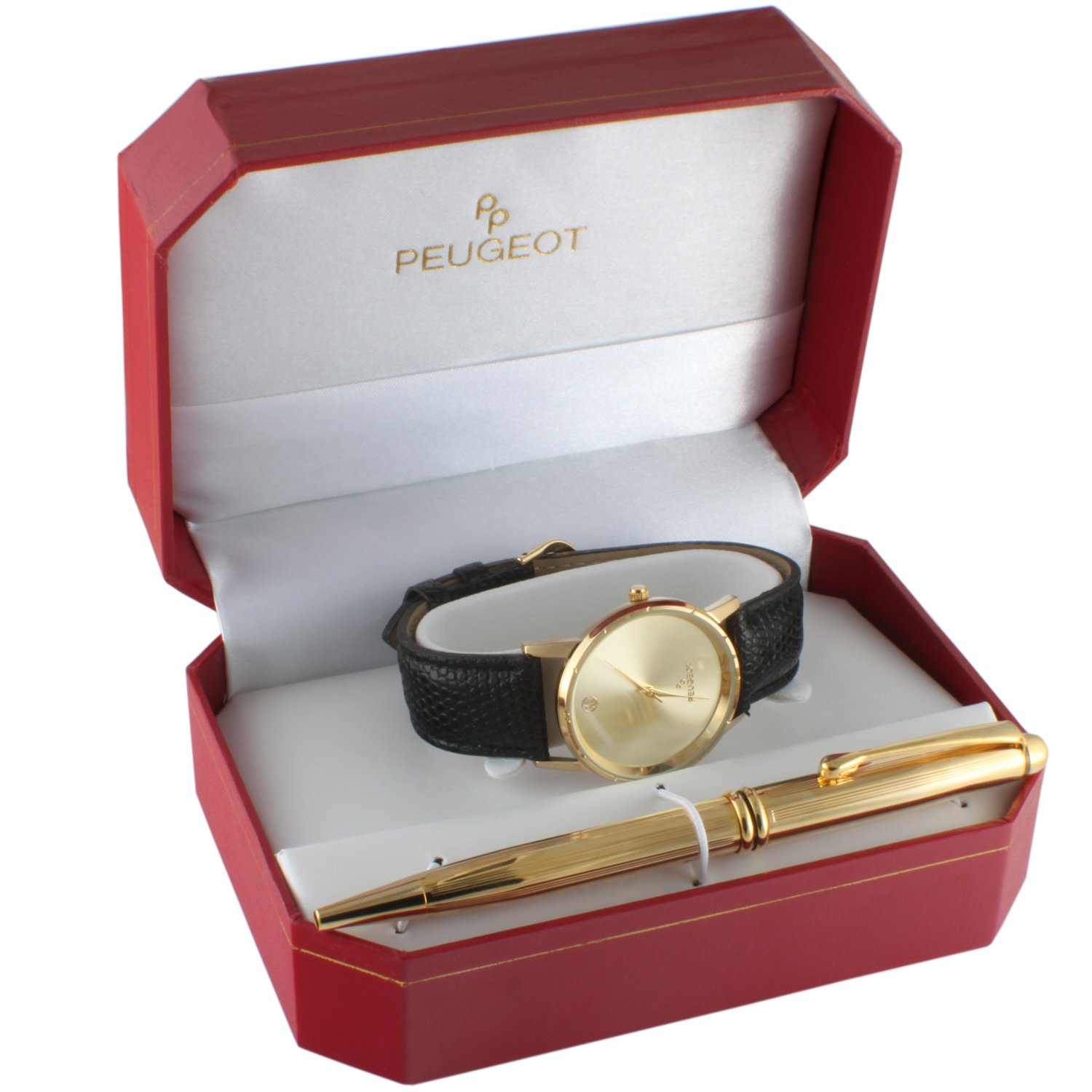 Peugeot Men's Black Leather Watch Gift Set with Gold -tone Pen