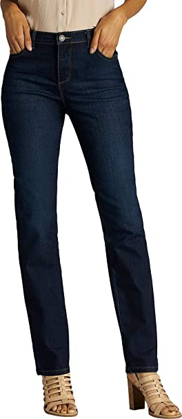 d434f9a1 Image Unavailable. Image not available for. Color: LEE Petite Instantly  Slim Straight Jeans ...