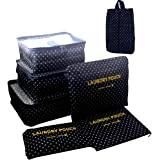 Itraveller 7 Set Travel Clothes Organizers- 3 Packing Cubes + 3 Luggage Organizers Pouches+ 1 Shoes Bag, Navy Point