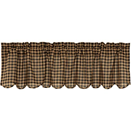 VHC Brands Primitive Kitchen Curtains Black Rod Pocket Cotton Check 16x60  Valance, Raven