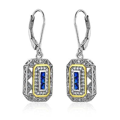 Newshe Vintage Created Blue Sapphire White Cz 925 Sterling Silver Gemstone Dangle Drop Earrings RAokB8c