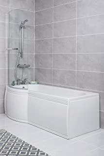 Modern White P Shape Shower Bath 1675 Mm With Front Panel Curved Wall Pivoting Glass