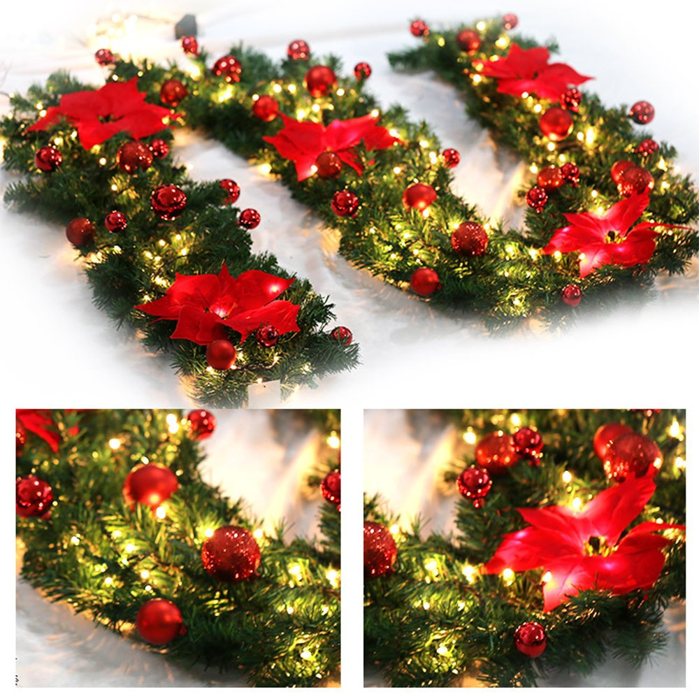 Purewing 9 Feet Christmas Decorations Christmas Garland with Lights Artificial Wreath with Red Flowers Berries and Pine Cones Xmas Decor for Stairs Wall Door (Gold)