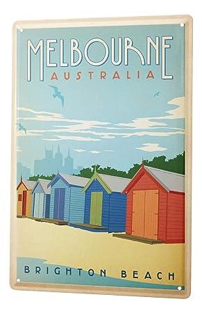 Cartel de chapa Placa metal tin sign Deco Ciudad Casetas de playa Melbourne Australia Brighton Beach 20X30 cm: Amazon.es: Hogar