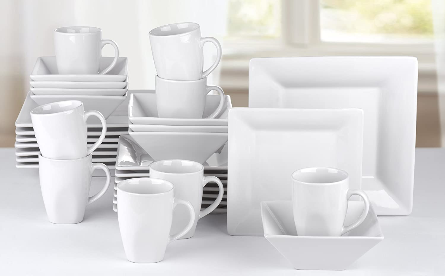 32 Piece Manhattan White Square Stoneware Dinner Set Amazon.co.uk Kitchen u0026 Home : dining plate sets uk - pezcame.com