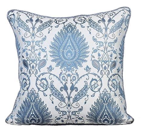 Azul fundas de almohadones, Jaquard de la armadura damasco ...