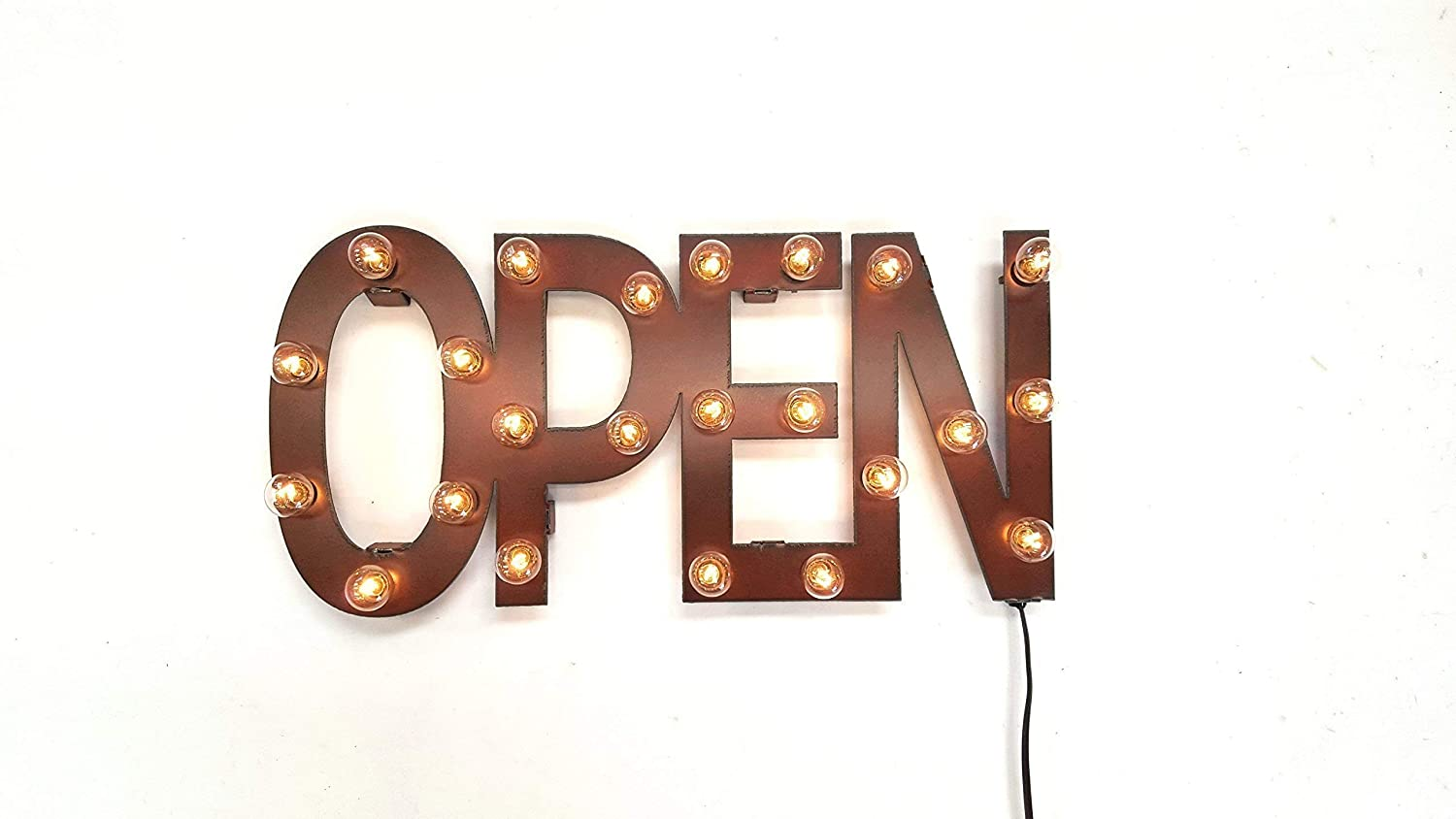 Open marquee lighted sign rustic rusted rust vintage inspired metal