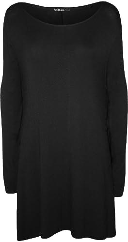 WearAll – grande donna Plain Stretch swing-vestito a maniche lunghe Top – 6 colori – grande misure 44-54