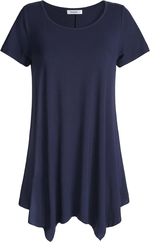 Esenchel Women's Short Sleeves Tunic Shirt Loose Fit Leggings Top