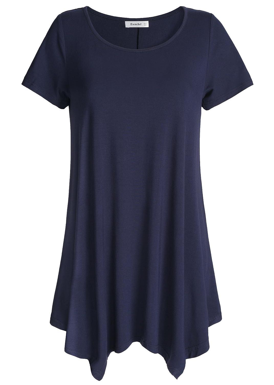 Navy Esenchel Women's Short Sleeves Tunic Shirt Loose Fit Leggings Top