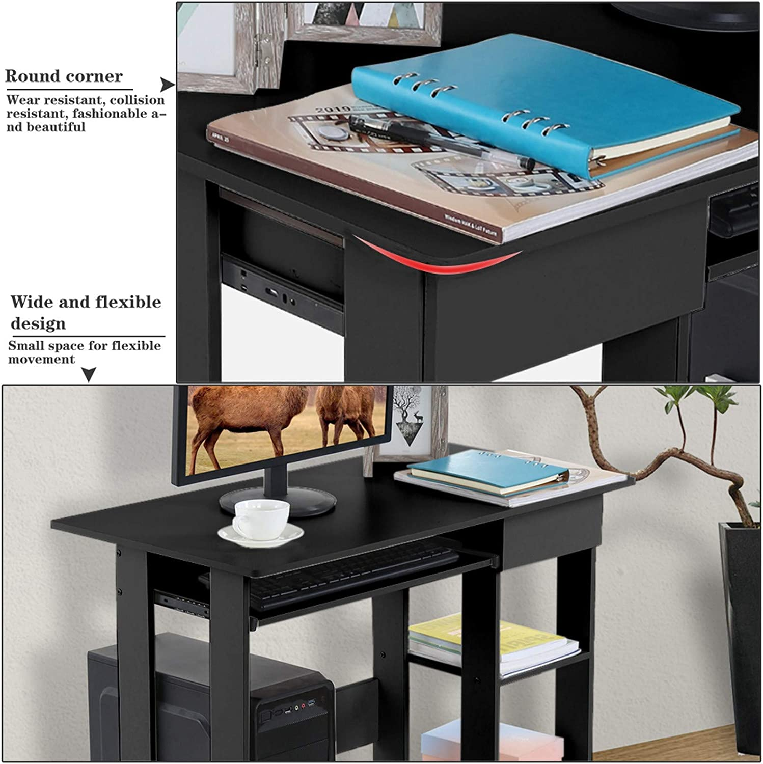Chenmioo Computer Desk with Shelves Writing Study Desk with Storage Study Table for Small Space Home Office Workstation