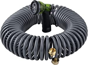 "Yestar 75Ft Garden Coil Hose 3/4"" Solid Brass Fittings Leak Proof Connector Flexible Water Hose with 7-Pattern Spray Nozzle Easy to Storage, Kink Free Compact and Durable"