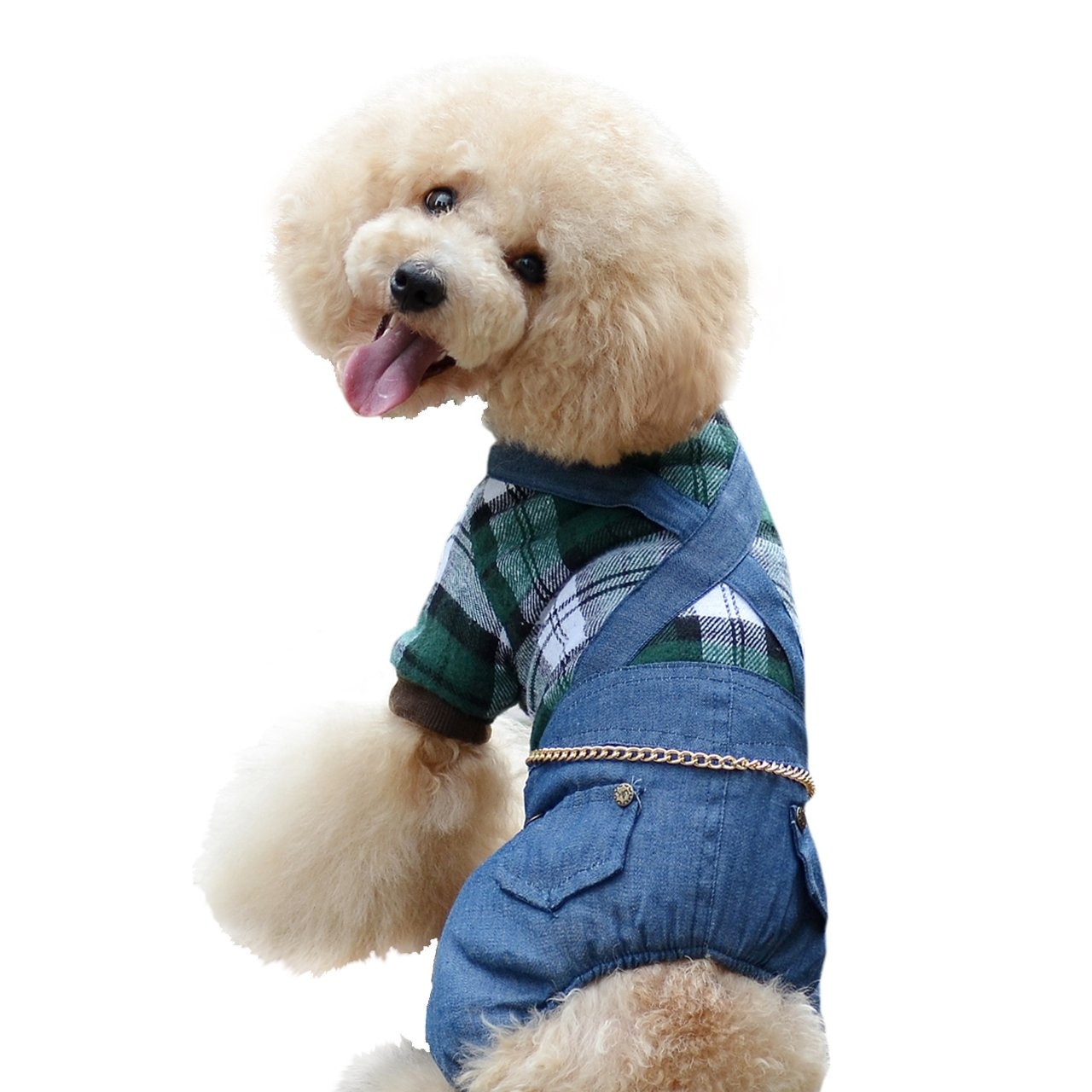 One Tail Four Paws Plaid and Denim Thick Bodysuit, Medium, Olive Green