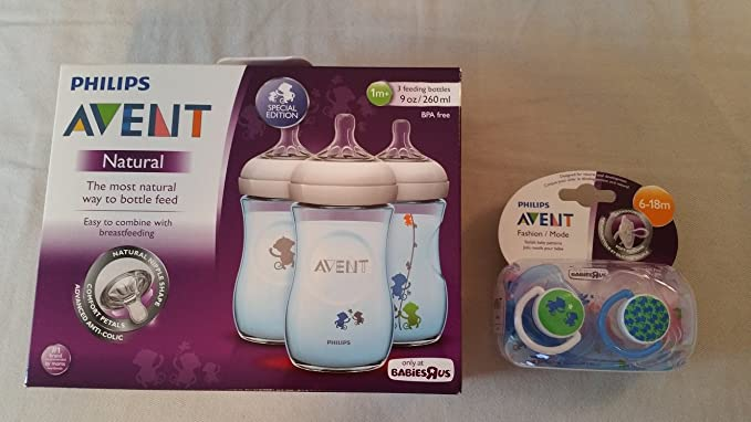 Philips AVENT chupetes Azul monos Bundle: Botellas Natural, 9 ...