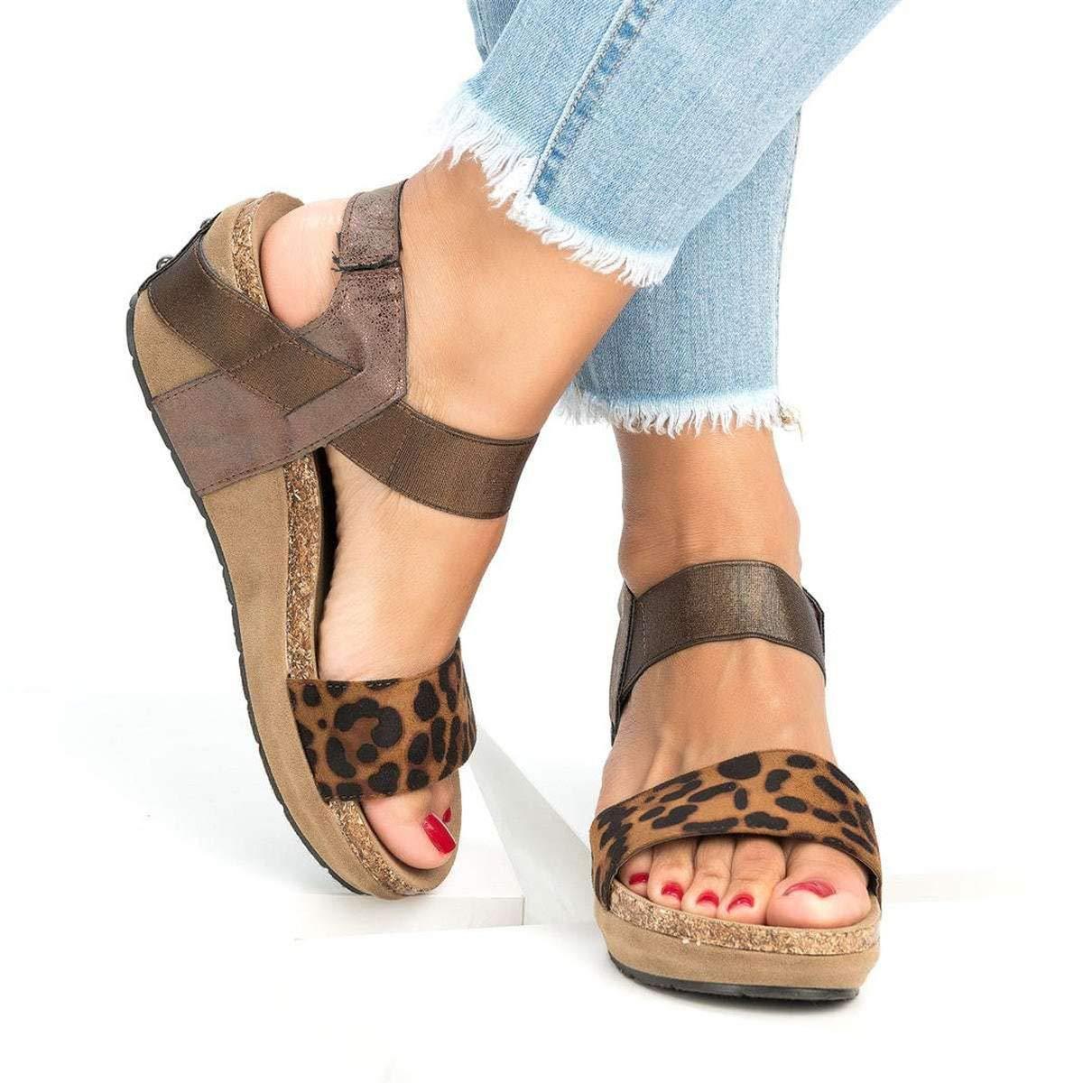 Meiliwanju Women's Ankle Strap Open Toe Summer Vegan PU Leather Platform Sandal Casual Low Heeled Strappy Wedge Sandals (Khaki, 8.5)