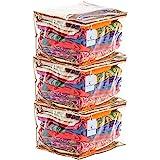 Kuber Industries™ Full Transparent Saree Cover with Capacity of 10-15 Sarees Set of 3 Pcs`
