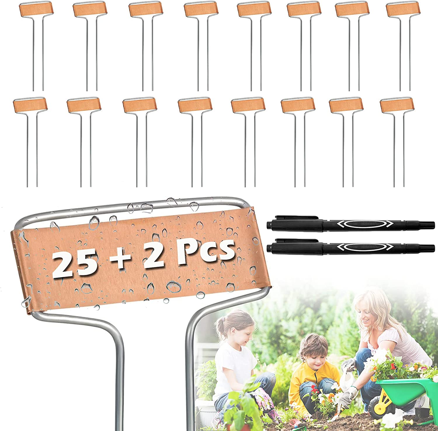 25 Pcs Plant Tags, Copper Plant Labels for Outdoor Garden, Plant Markers for Garden Waterproof with 2 Marker Pens, Metal Garden Plant Labels and Maker Pen for Vegetables Flowers Potted Plants