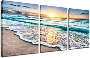 Beach Canvas Wall Art - Sand Sunset Ocean Wave Wall Decor 3 Piece Seascape Prints and Posters Modern Kitchen Bedroom Wall Decor Nature Pictures Stretched Framed Artwork Ready to Hang 12x16 inch