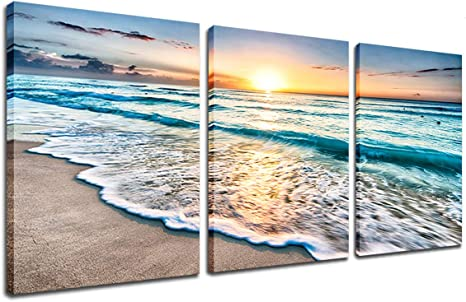 Amazon Com Beach Canvas Sunset Wall Art Ocean Wave Wall Decor Sand White Beach 3 Piece Seascape Prints And Posters Modern Kitchen Bedroom Decor Nature Pictures Stretched Framed Artwork Ready To Hang