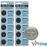 CELEWELL 10 Pack CR2032 3V Lithium Battery 230mAh Exp 2020 CR 2032 Coin Cell Bulk