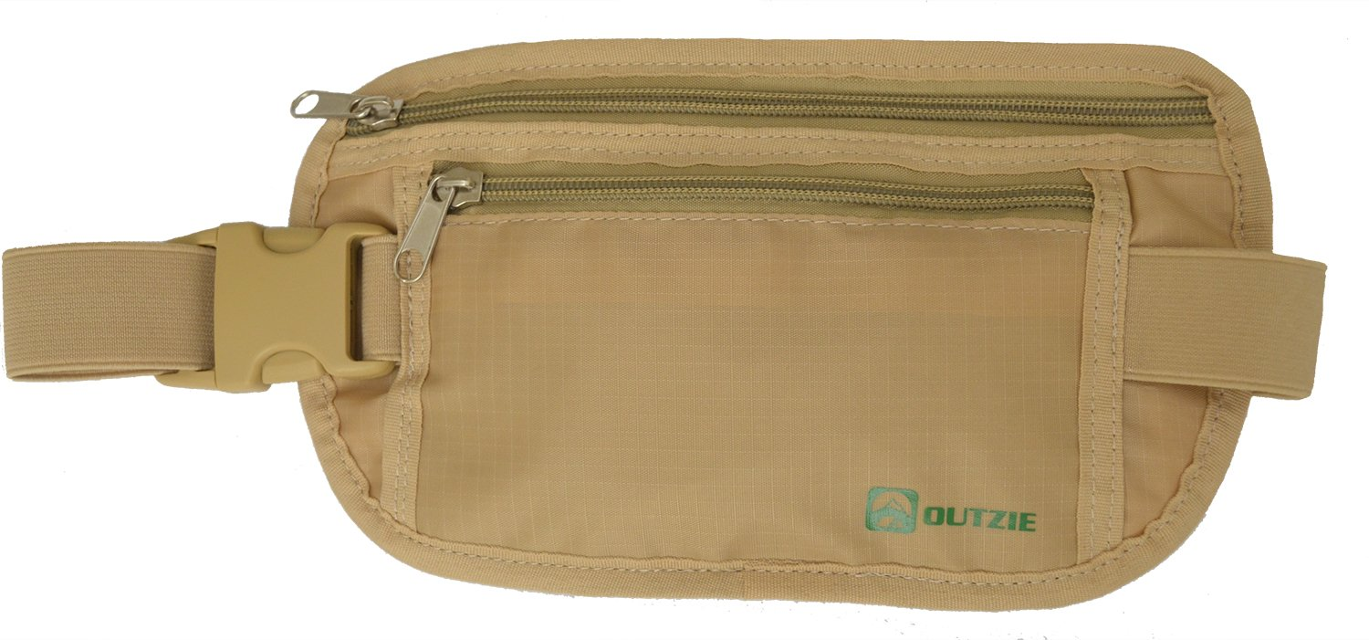 Travel Money Belt RFID Blocking - Protection for your Credit Cards and Passport | Secure all Your Valuables | Large Heavy Duty Zippers | Lined Pockets | Adjustable Stretch Belt | Hidden Under Clothes