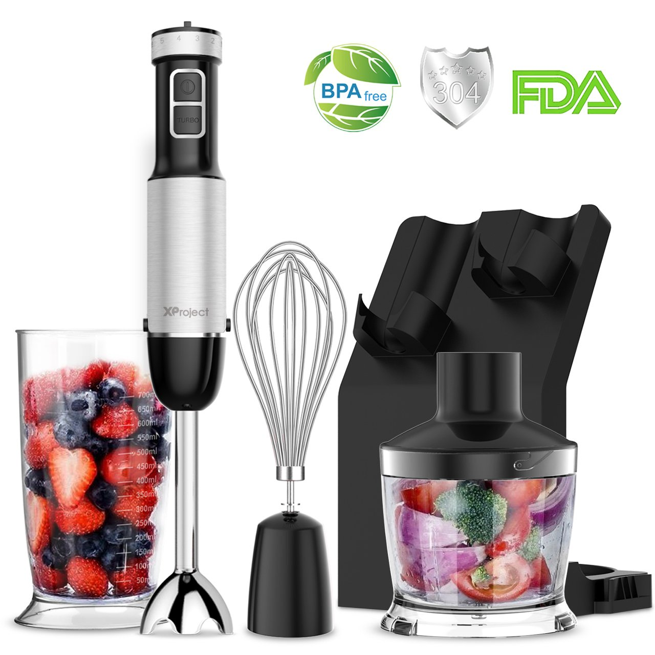 XProject (Upgraded) Immersion Blender,Powerful 800W 4 in 1 Hand Blender with 6 Speed Control & Turbo,500ml Chopper,Whisk,700ML Beaker for Smoothie,Bonus Storage Stand,BPA Free,FDA Approved