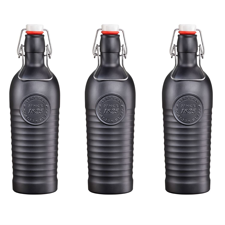 Bormioli Rocco Officina 1825 Vintage Flip Top Glass Bottle - 1200ml (37.25oz) - Black - Set of 3