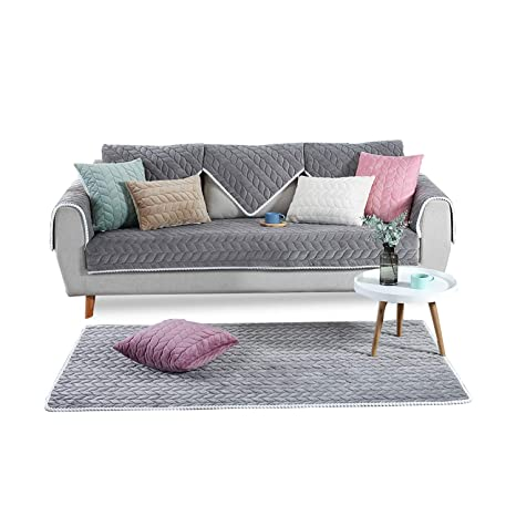 PETCUTE Fundas Sofa Chaise Longue Cubre Sofa Acolchado Fundas para Sofa sin Brazos Antideslizante Gris 110X240cm