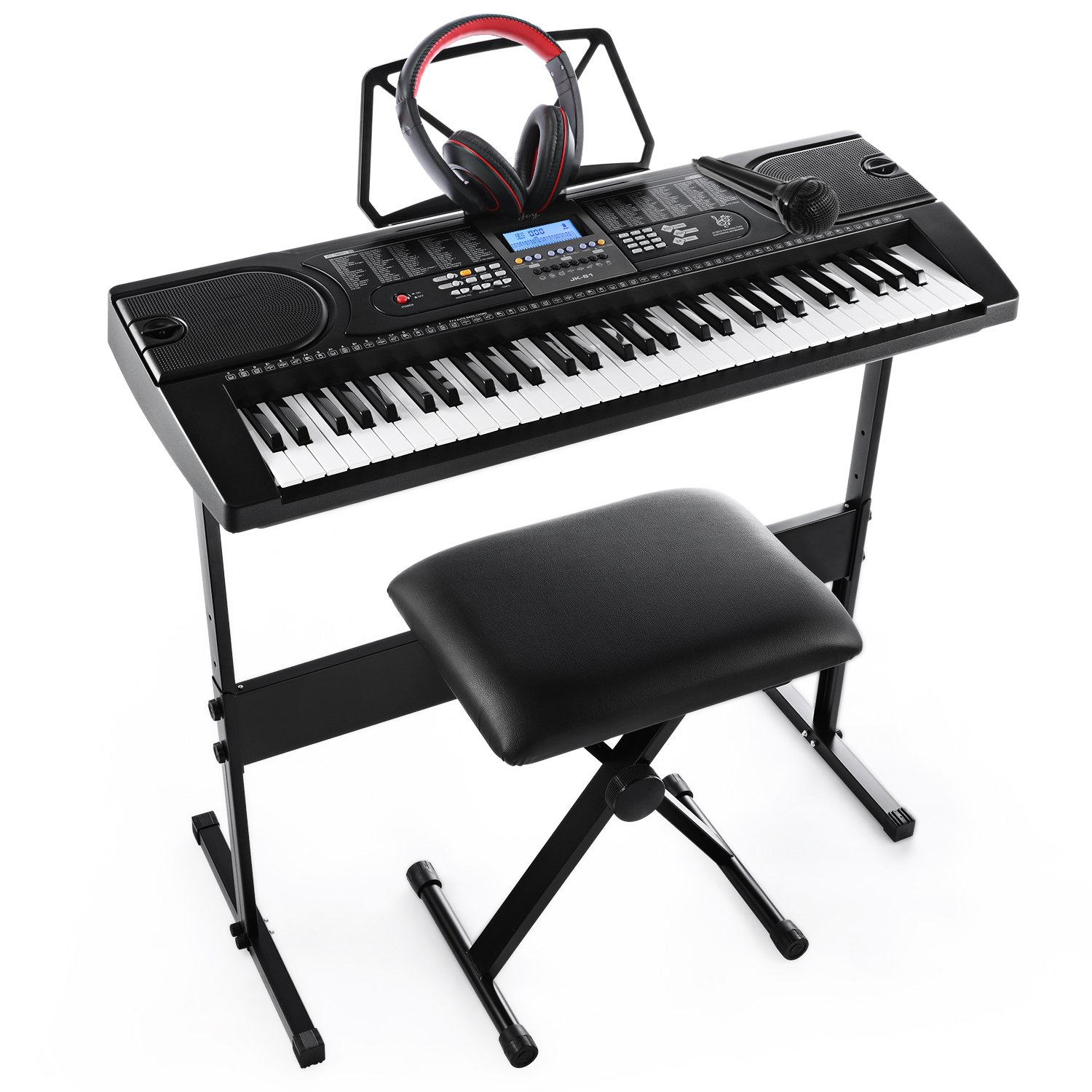 Joy 61-Key Electronic Keyboard Pack for Beginners, with Stand, Stool,Headphones and Power Supply (JK-61-KIT) by Joy