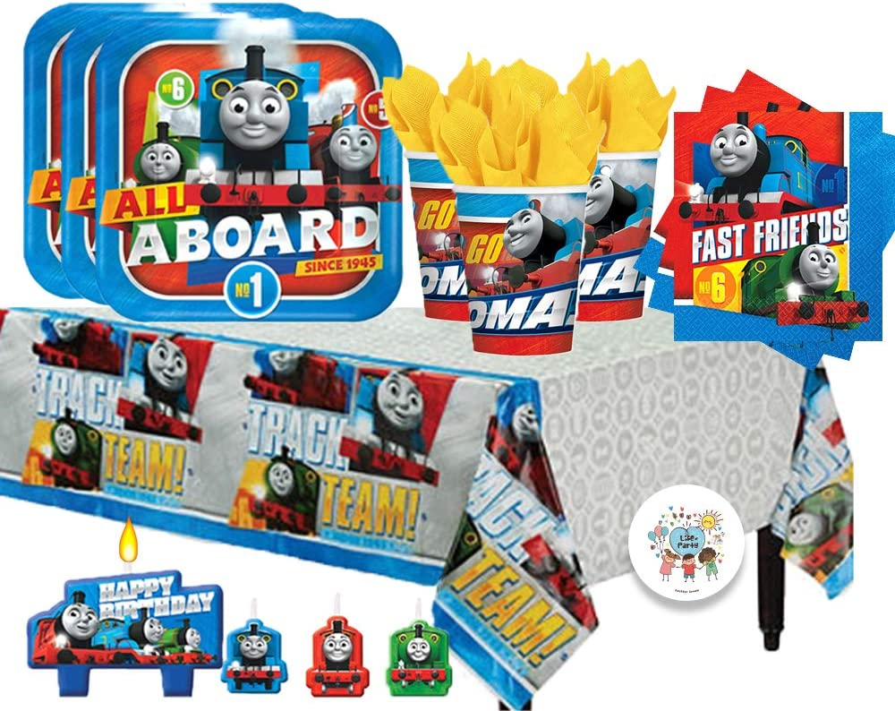 Another Dream Thomas The Train Birthday Party Pack for 16 with Plates, Napkins, Cups, Tablecover, Candles, and Exclusive Birthday Pin