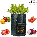 ANPHSIN 10 Gallon Garden Potato Grow Bags with Flap and Handles 4 Pack, 4 Pcs