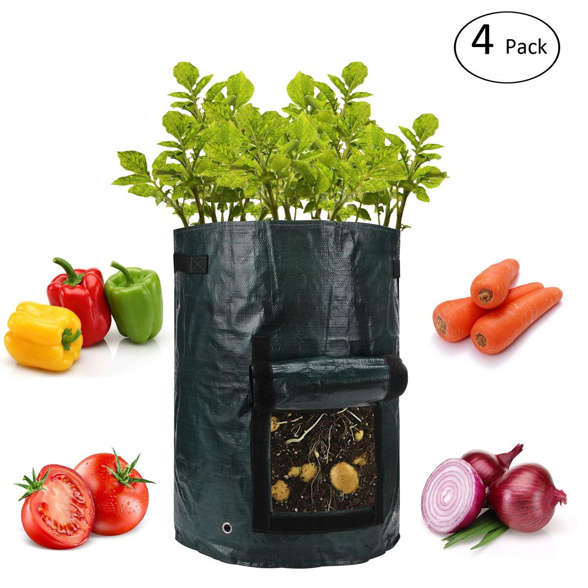 ANPHSIN 4 Pack 10 Gallon Garden Potato Grow Bags with Flap and Handles Aeration Fabric Pots Heavy Duty by ANPHSIN