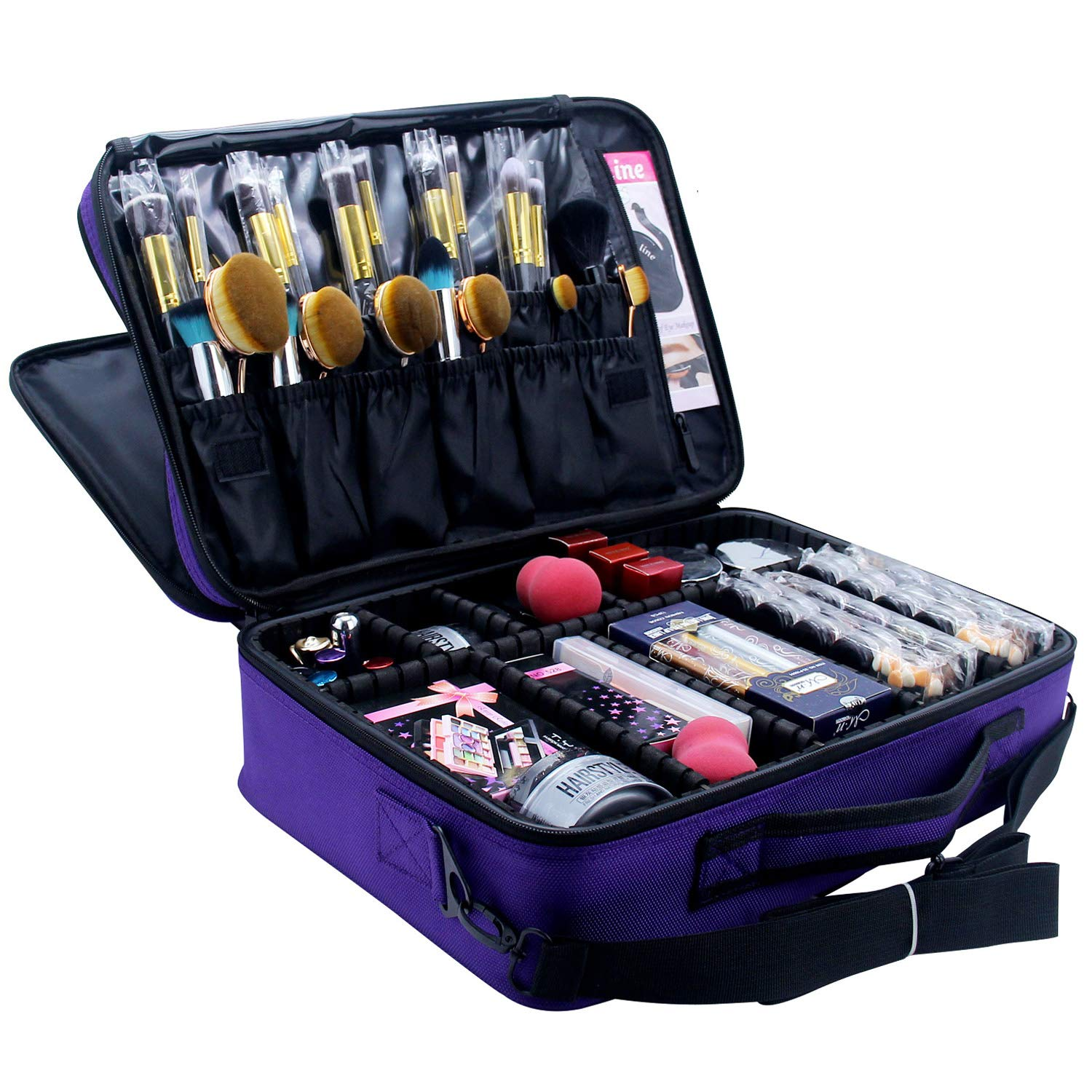 Relavel Professional Makeup Train Case Cosmetic Organizer Make Up Artist Box 3 Layer Large Size with Adjustable Shoulder (Purple)