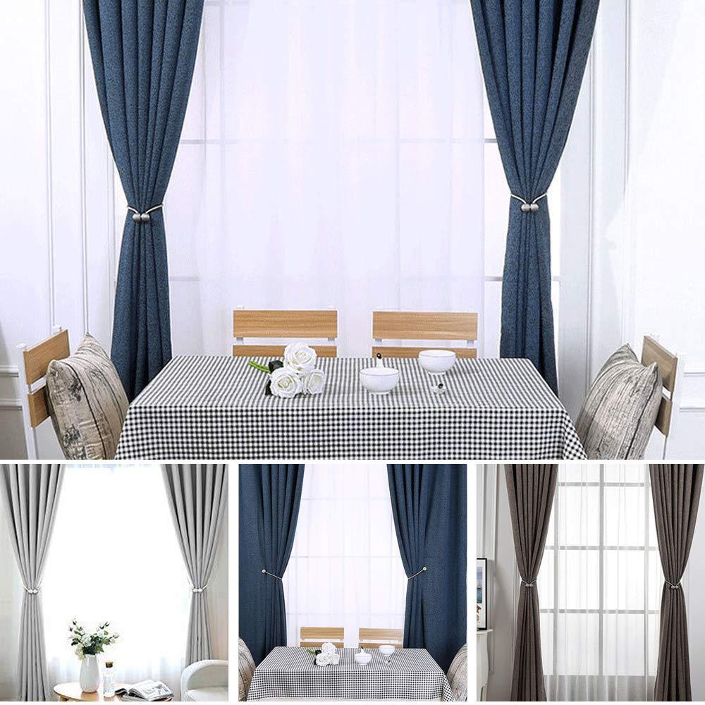 BEWISHOME Curtain Tiebacks Magnetic Decorative Curtain Holdbacks Convenient Drape Tiebacks 4 Pack 2 Pairs Beige FCL01M
