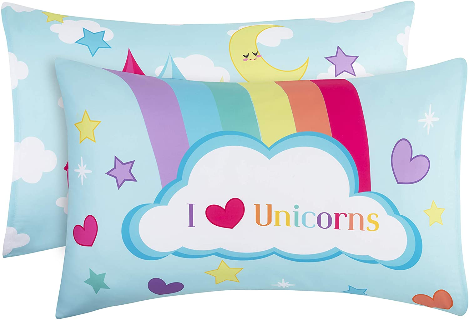 Toddler Fitted Sheet and Pillowcase Set Soft Microfiber Unicorn Dreams Breathable and Hypoallergenic Toddler Sheet Set