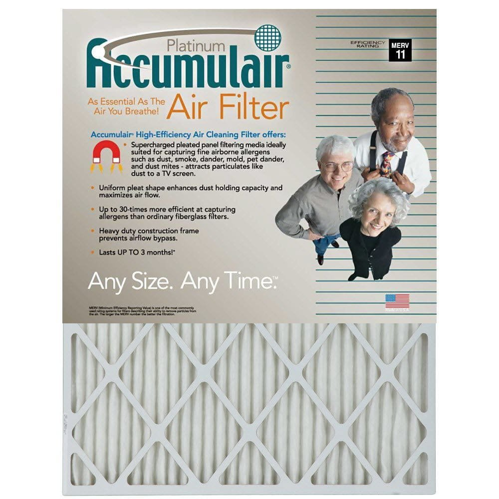 Filters Now.Com FA20X24-4 Accumulair Platinum Furnace Air Filter, 20 x 24 x 1-in, 4-pack Genuine Original Equipment Manufacturer (OEM) part by Filters Now.Com