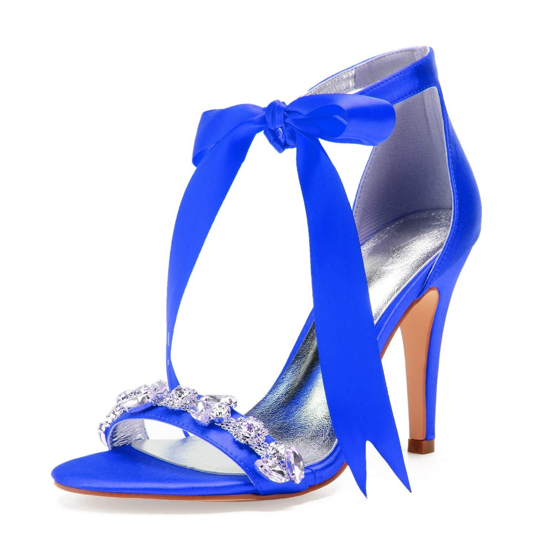 bleu bleu bleu Eleboeb Femmes Chaussures De Mariage Toe Kitten Satin Platform MariéE DC-48 Ivoire Peep AjusteHommest Large Taille Au-Dessus   10.5cm Talon 759