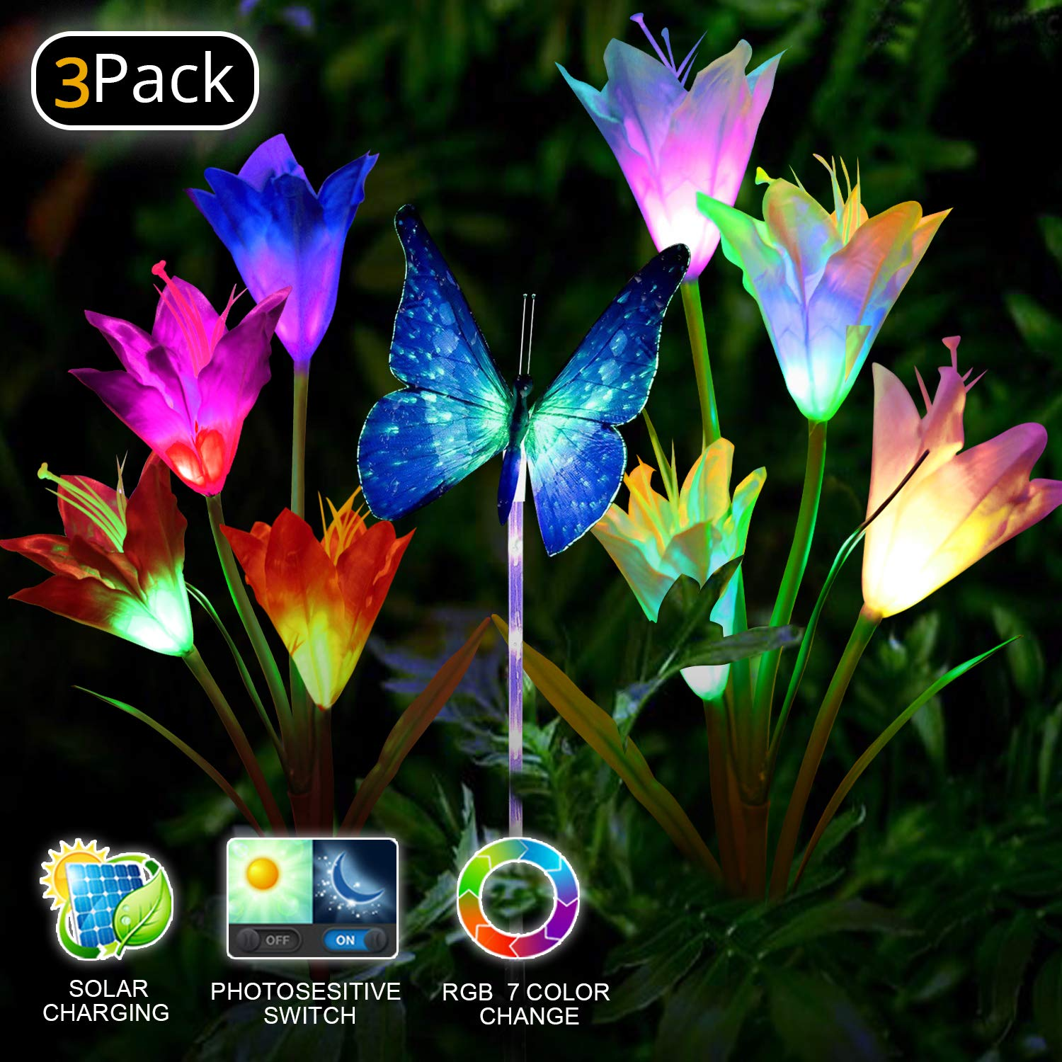 Solar Garden Lights LED Color Changing Solar Lights Outdoor Solar Powered Stake Decoration Flower Garden Lights for Garden, Patio, Backyard3pack(2 Lilly Flowers and 1 Butterfly)