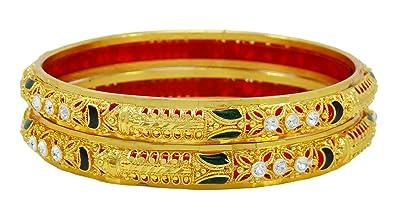 Bridal & Wedding Party Jewelry Engagement & Wedding Cheap Price Goldtone Ethnic Cz Stone Screw Lock 2pc Kada Bangle Set Bracelet Party Jewellery Attractive Designs;