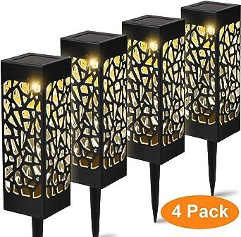 YAOBLUESEA 4 piezas luz solar para jardín, lámpara LED para exteriores, lámparas solares para exteriores, batería impermeable IP55,600mAh, lámpara solar decorativa, patio y patio de jardín: Amazon.es: Iluminación